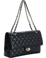 Adele Flap Bag Cowhide Leather Caviar Black for $109