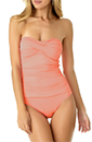 $44 Off Shirred Bandeau One Piece Swimsuit